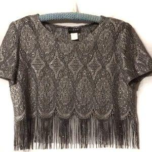 Vintage Virgo fringe dressy blouse cropped EUC 12